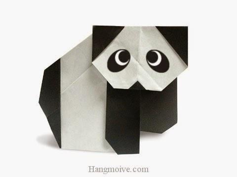 Cách gấp, xếp con gấu trúc Panda bò bằng giấy origami - Video hướng dẫn xếp hình - How to make a Panda