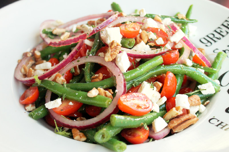 ... with a Green Bean Salad, Toasted Pecans, Feta and Lemon Vinaigrette
