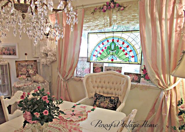 Curtains Ideas brown white striped curtains : Penny's Vintage Home: Pink and White Striped Curtains