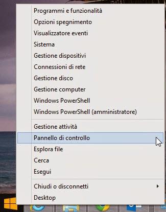 Accedi al pannello di controllo - Windows 8.1