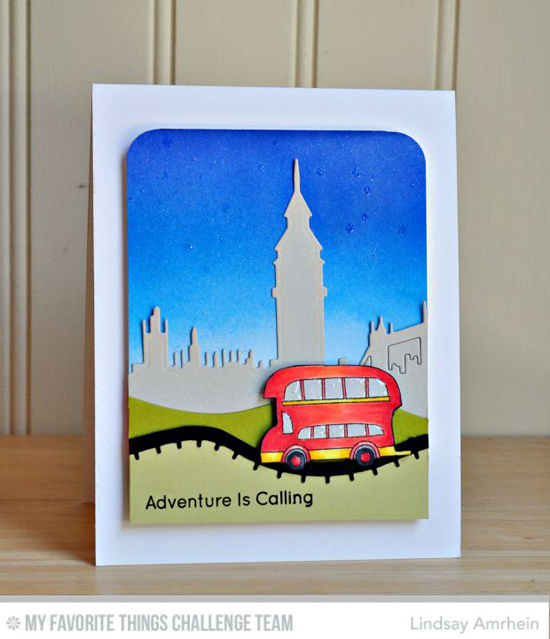 London Tour Card by Lindsay Amrhein featuring the London Mouse stamp set and Die-namics and the London Skyline and Rolling HIlls Die-namics #mftstamps