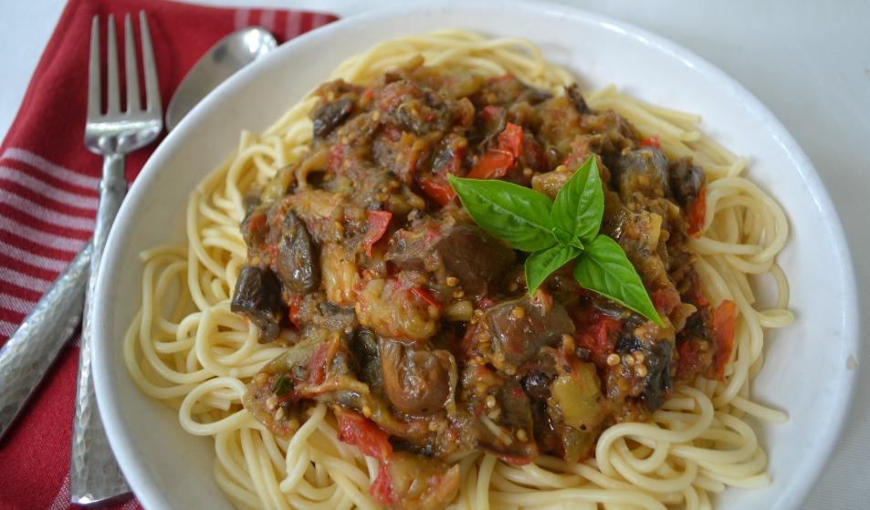 Eggplant and tomato spaghetti. Lucy Mercer/A Cook and Her Books