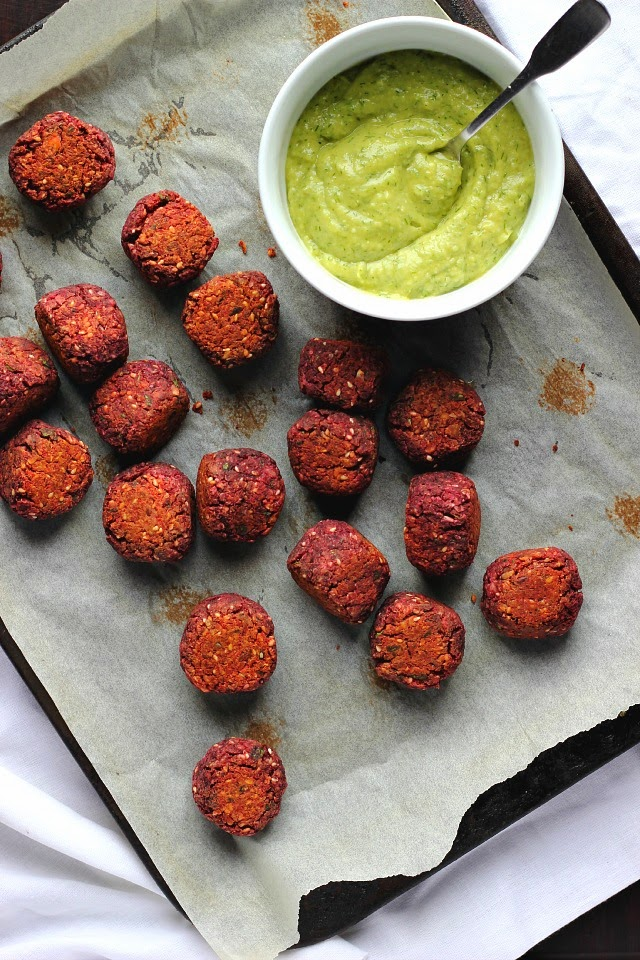 Nutty Baked Beetroot Falafels + Some Fixin's   happy hearted kitchen