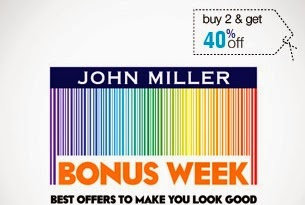 Buy any 2 John Miller Fashion Wearsand Get Flat 40% Off at Jabong
