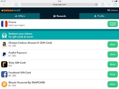 TokenWall Gagner de l'argent avec son mobile