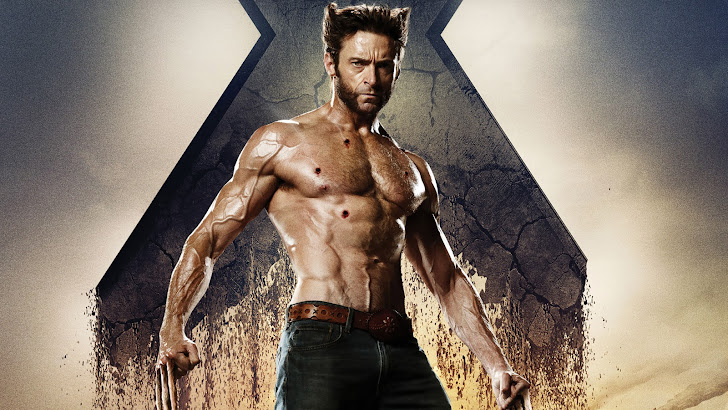 wolverine / logan (hugh jackman) bullet wound in the body abs in x men