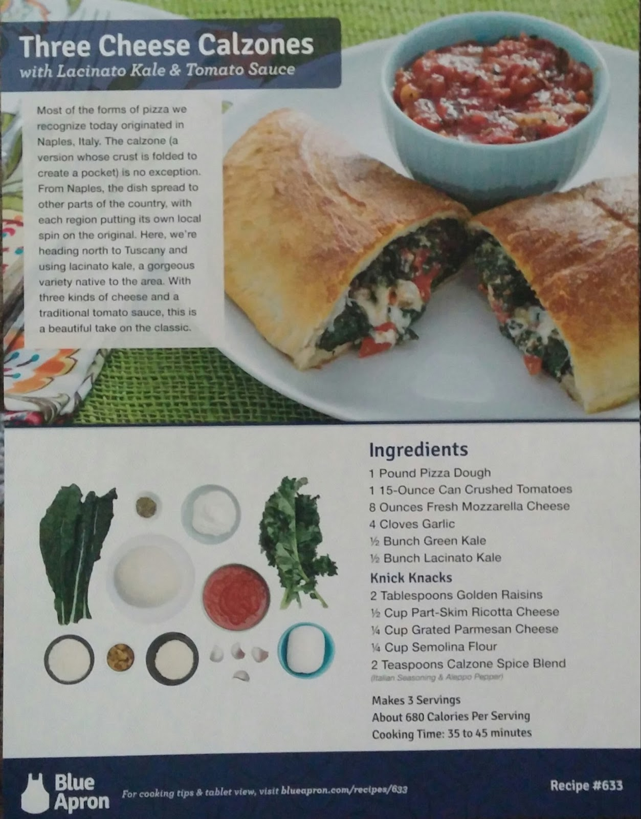 Blue apron hawaii - The First Meal I Chose To Create Was The Three Cheese Calzones With Lacinato Kale And Tomato Sauce Because They Sounded Delicious And Easy