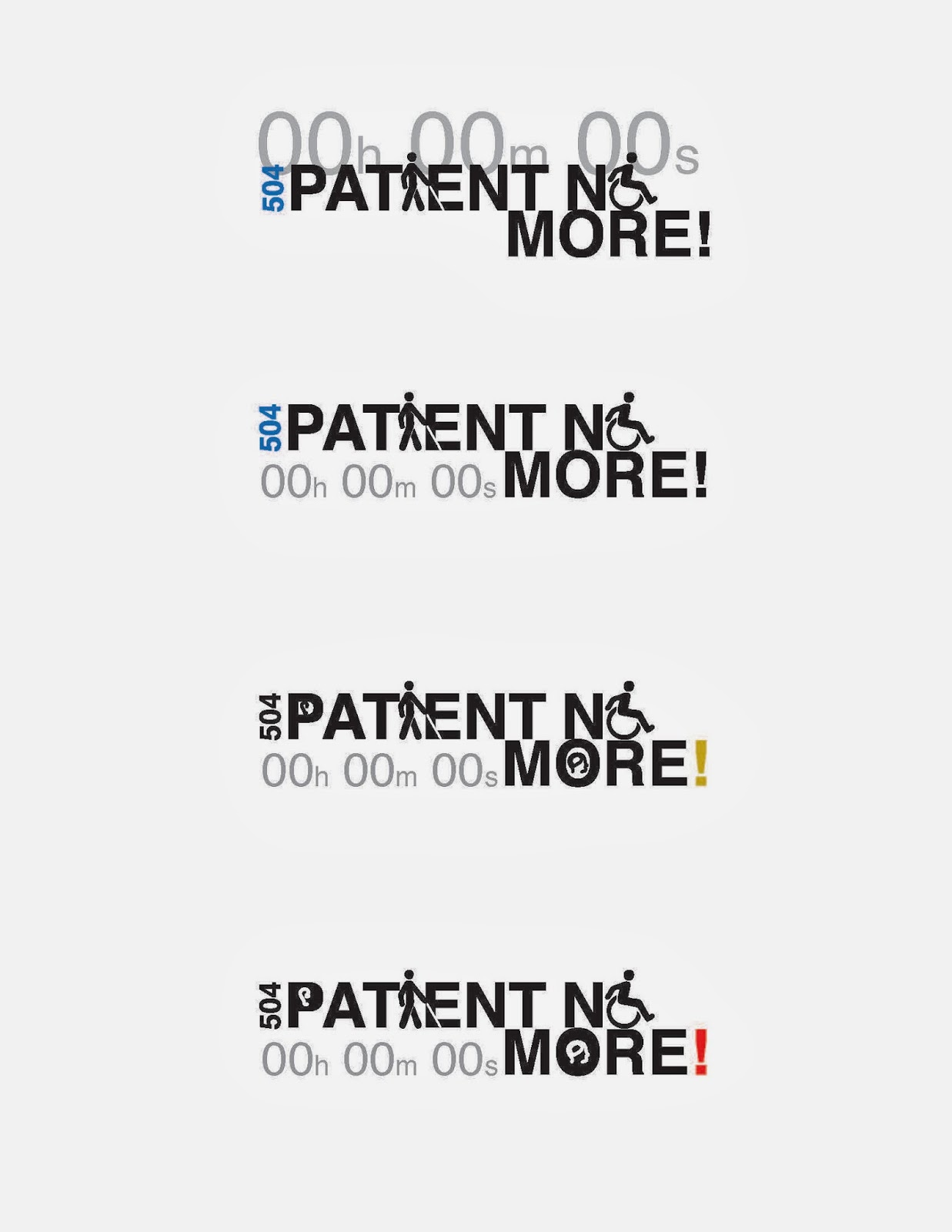 """Patient No More!"" logo idea incorporating disability symbols as letterforms"