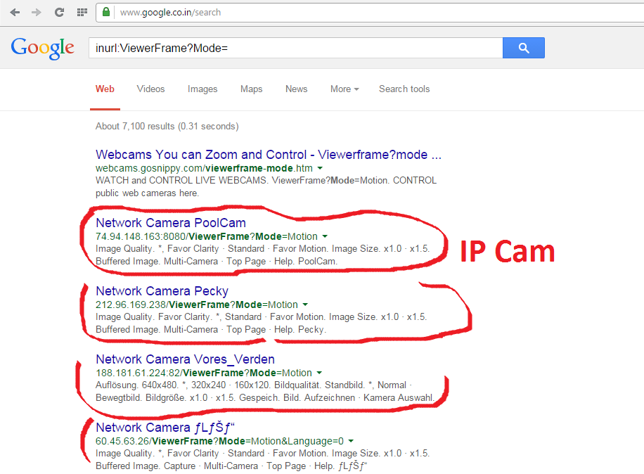 Search the Below queries in Google you will get a Links with IP  see the  below Image   Open That you can see through that Camera. Ethical Hacking Tutorials
