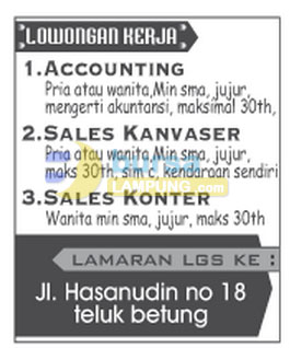Lowongan Kerja Lampung, Sabtu 04 Oktober 2014 JogjaComCell