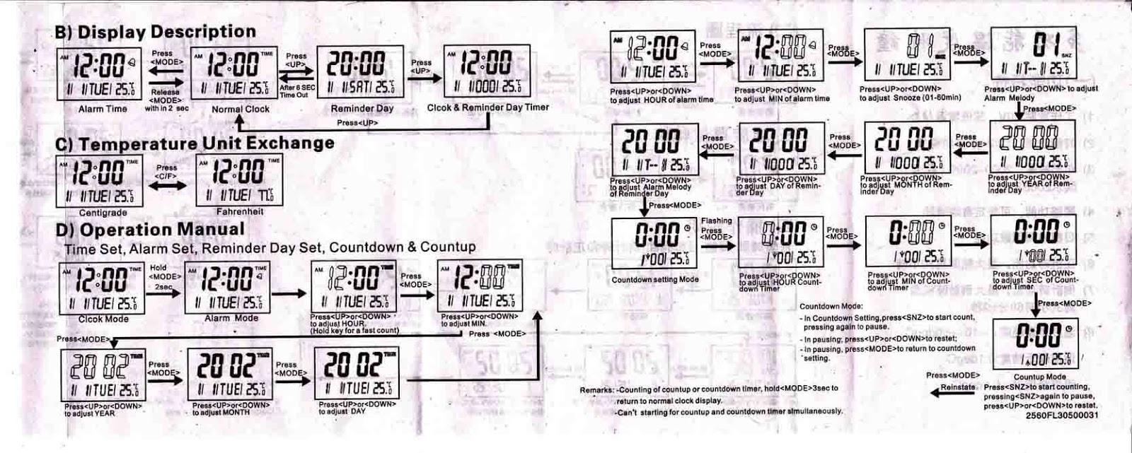 Jual Aneka Barang Jam Digital Kenko KK 3885 LCD Wall Clock