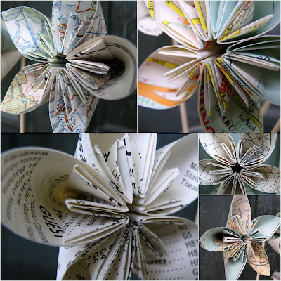 How to fold paper flowers just imagine daily dose of creativity to mount them i hot glued them onto a lightweight bamboo skewer pressed lightly between the joins of the petals as long as you hold it firm until the glue mightylinksfo Choice Image