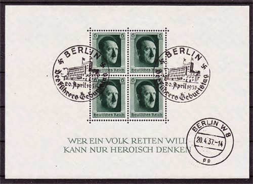 1937 Nazi Germany Hitler Stamp Souvenir Sheet