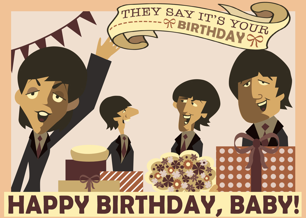 Linnica a 3d beatles birthday card the first step was finding caricatures of the beatles which i have found here the next step was building the frame and coloring it in photoshop m4hsunfo