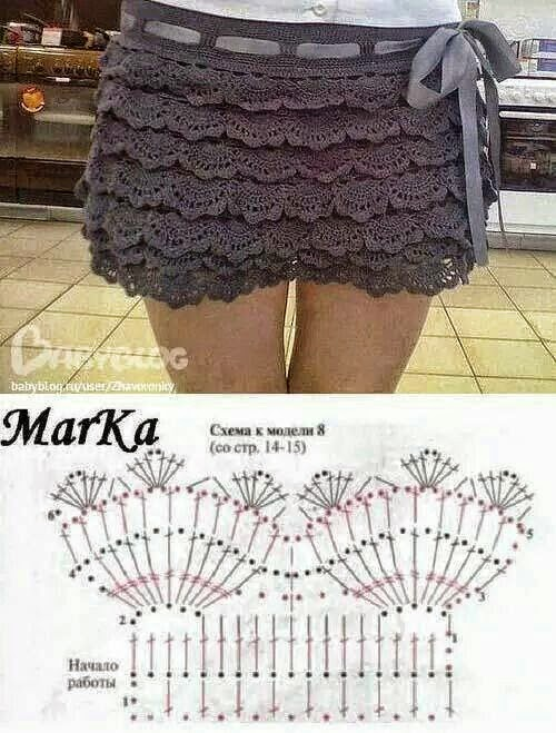 Minifalda con volados tejida al crochet