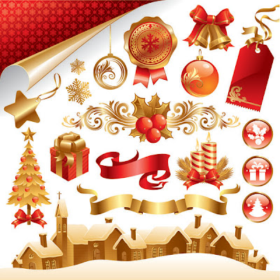 Beautiful Christmas Material Late Free Vector Graphics - 01