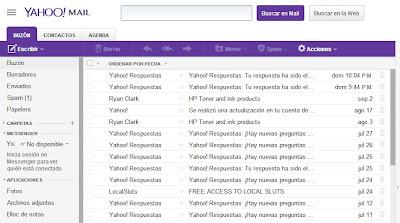 Папка Входящие в Yahoo