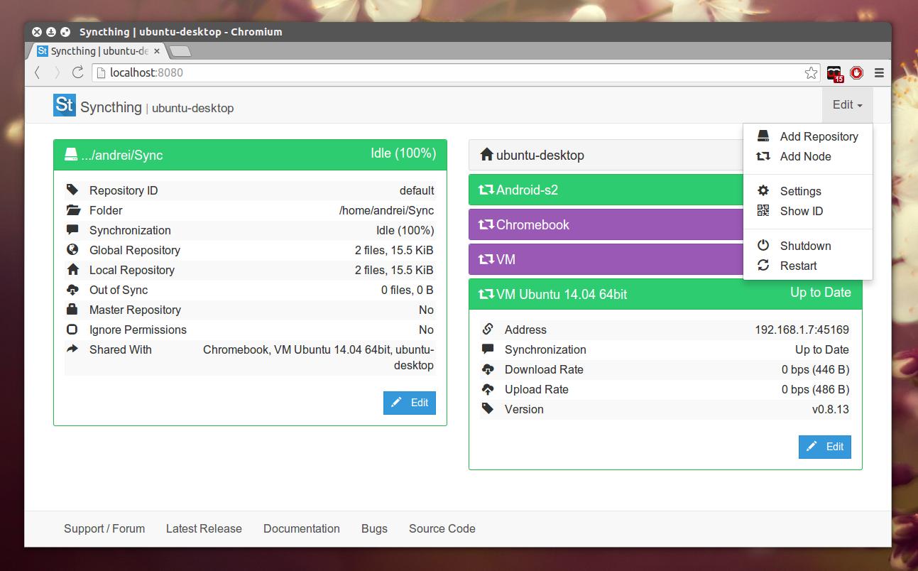 Syncthing screenshot - izvor