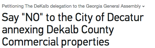 Petition: Say NO to City of Decatur's Unreasonable Commercial Annexation