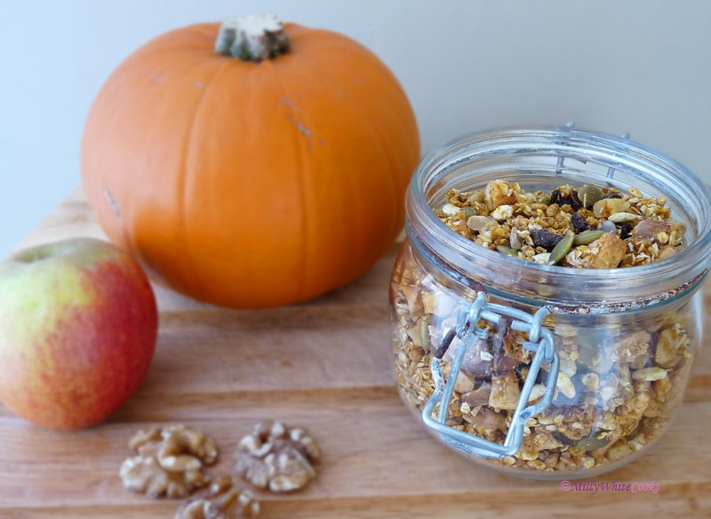Gluten-Free Spiced Pumpkin, Apple & Walnut Granola