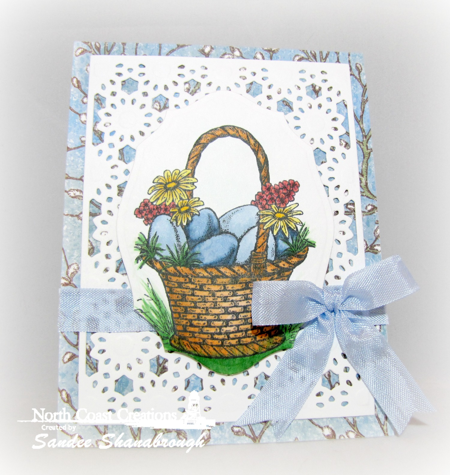 Stamps - North Coast Creations Easter Basket, ODBD Custom Daisy Chain Background Die, ODBD Elegant Oval Die, ODBD Blooming Garden Paper Collection