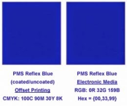 reflex blue pms color offset vs electronic printing