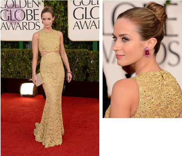 Emily Blunt Updo Hairstyle 2013 Golden Globes
