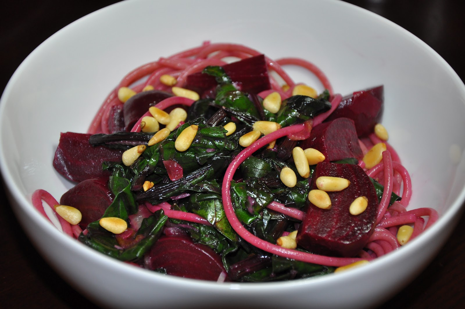 Spaghetti with Beets and Greens