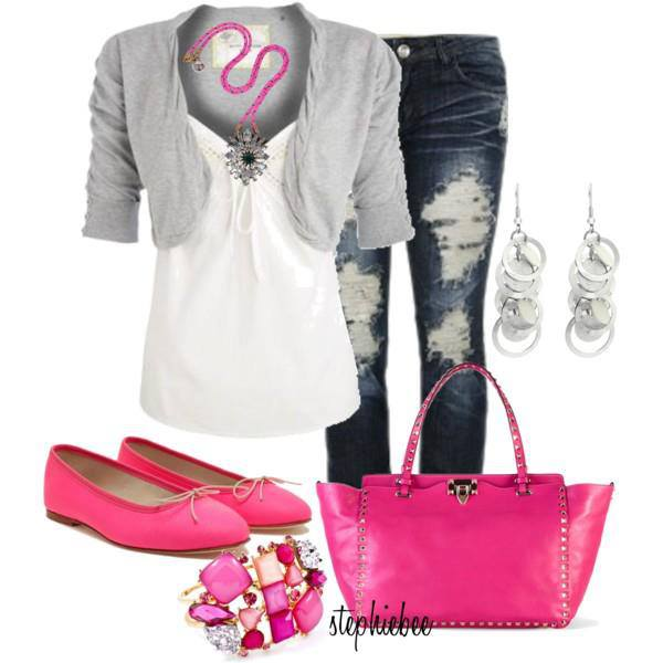 Grey short sweater, white blouse, jeans, pink shoes and hand bag for ladies