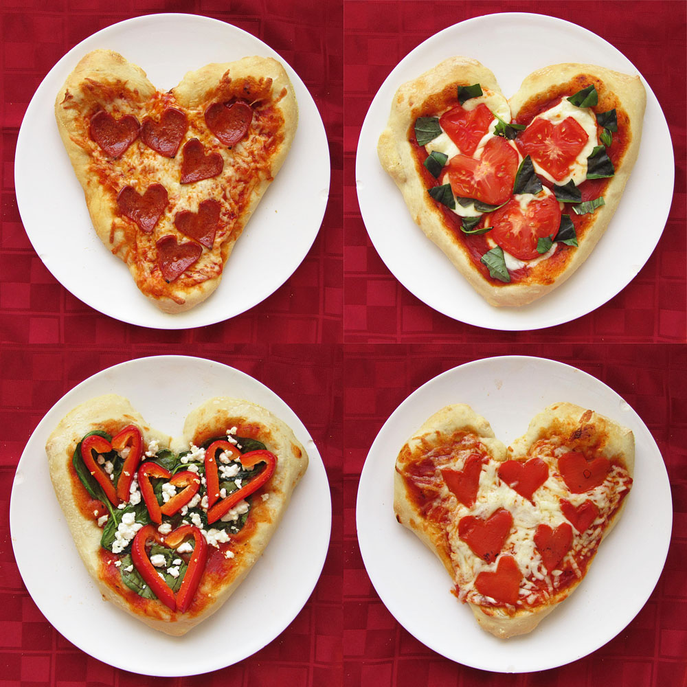 heart shaped personal pizzas with heart shaped toppings once upon a cutting board. Black Bedroom Furniture Sets. Home Design Ideas