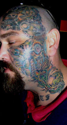 Biomech Face and Neck Tattoo Design