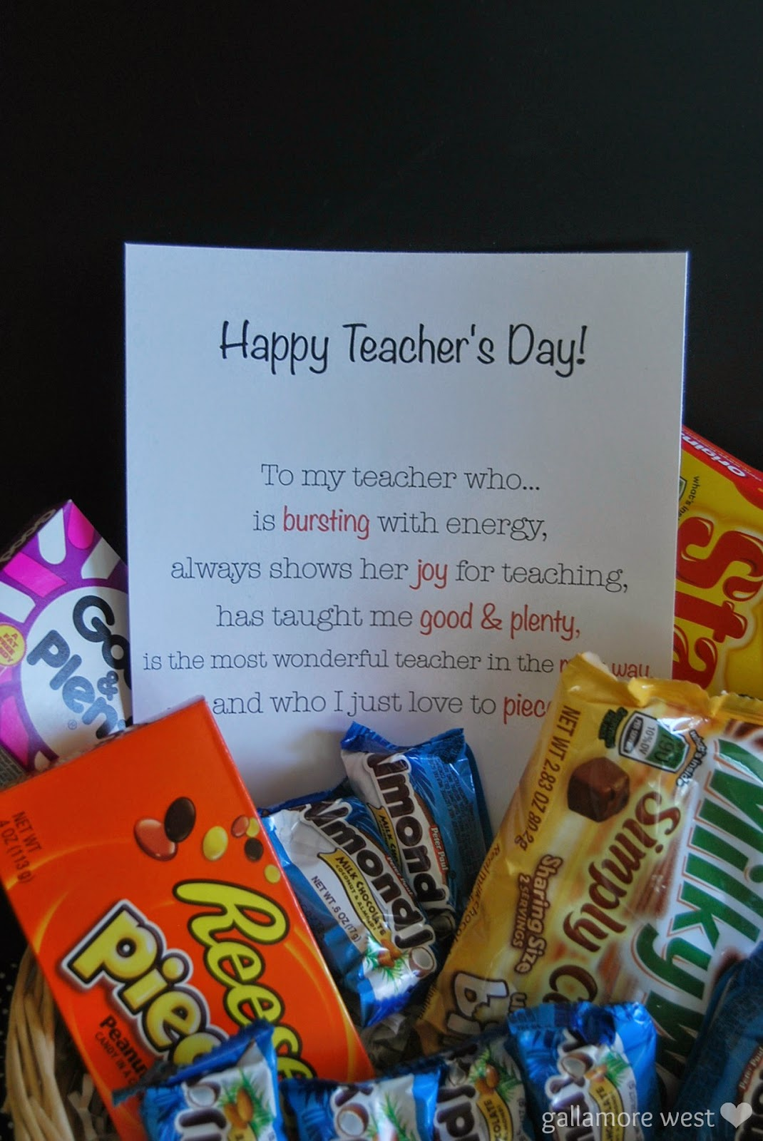 www.gallamorewest.com Easy & Sweet Teacher Appreciation Candy Gift