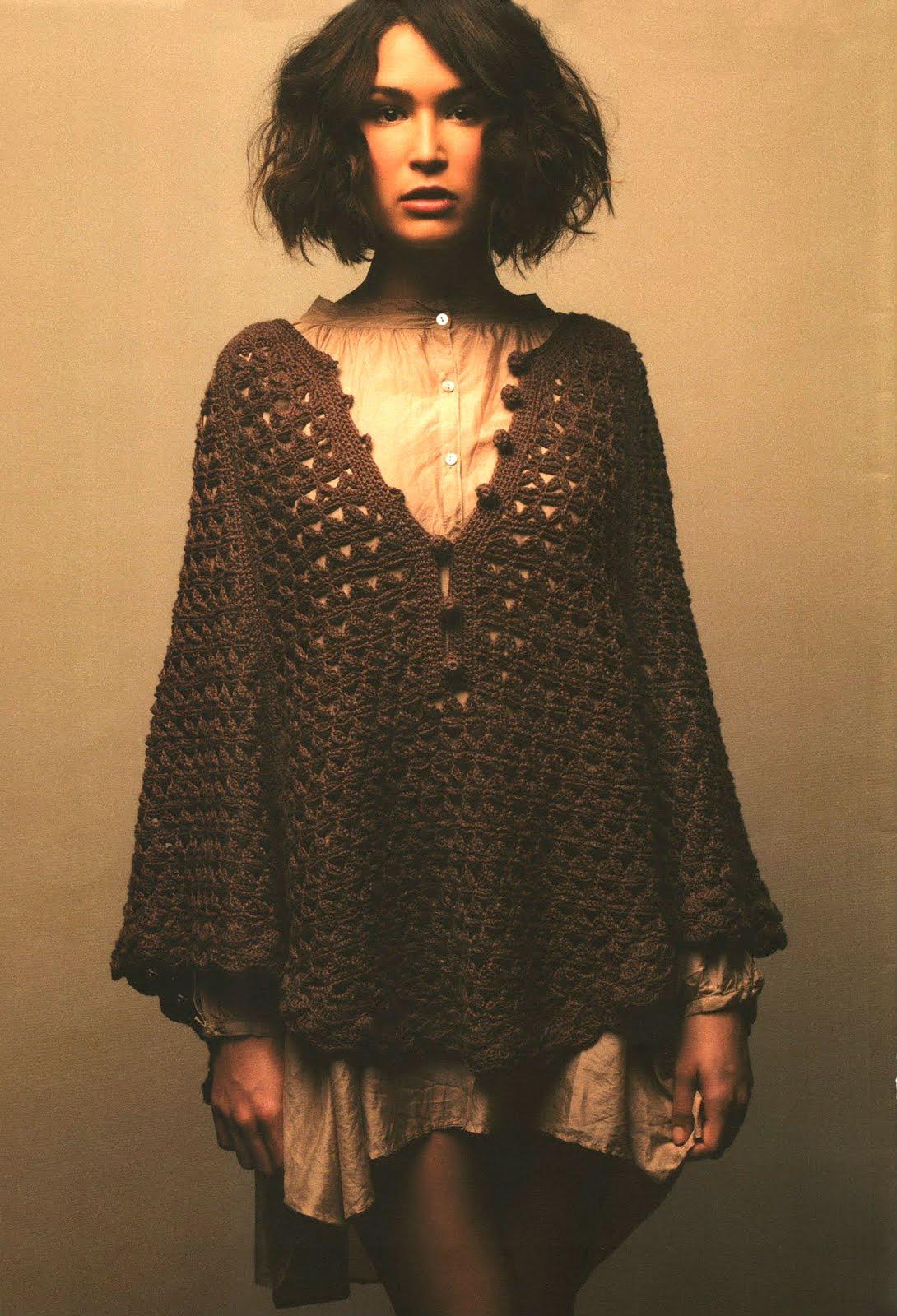 Вязание крючком платья-пончо