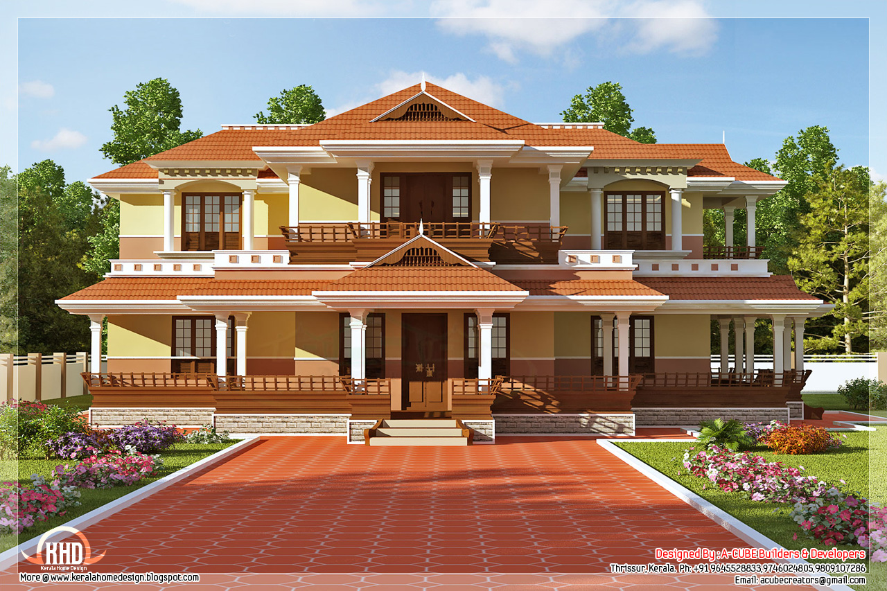 Keral model 5 bedroom luxury home design house design plans for New model veedu photos