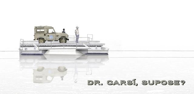 Land rover cruzando el rio, dibujo