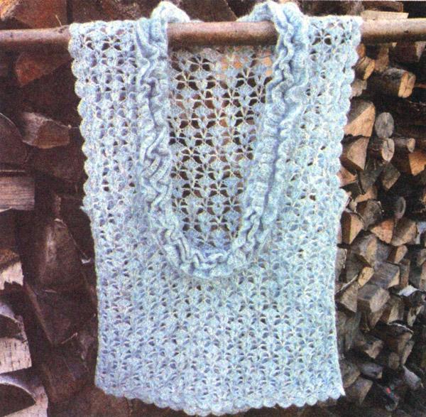 меланжевый голубой жилет. Vest - Crochet