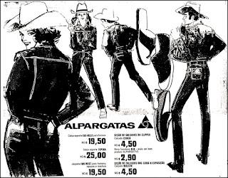 Alpargatas, Far-West, calçado Conga, lojas Clipper, moda anos 70,  propaganda anos 70; história da década de 70; reclames anos 70; brazil in the 70s; Oswaldo Hernandez