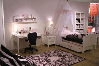 cuarto juvenil rosa negro blanco