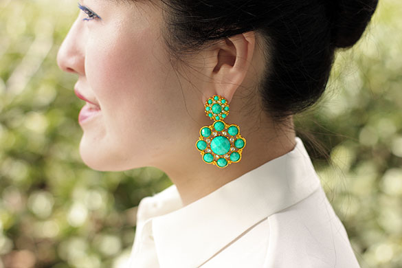 Amrita Singh Turquoise Crystal Jitney Earrings