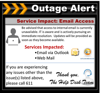 email outage notification template email outage. Black Bedroom Furniture Sets. Home Design Ideas
