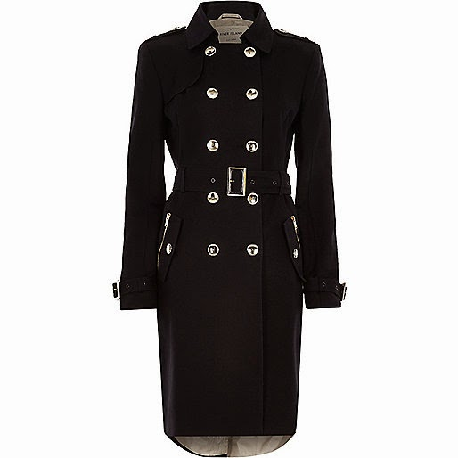 river island black mac, river island navy trench coat,