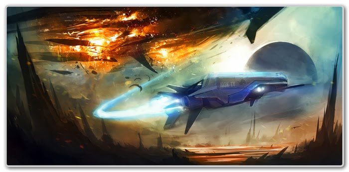 Concept art for Space Pioneer, depicting a ship flying with a planet in the background
