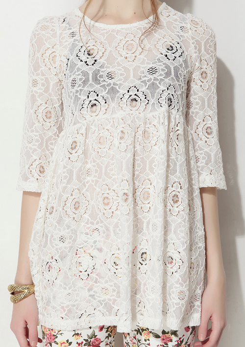 See-Thru Lace Tunic Top