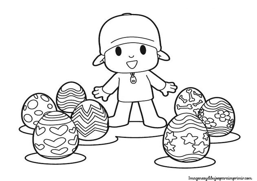 dibujo de pocoyo con huevos de pascua