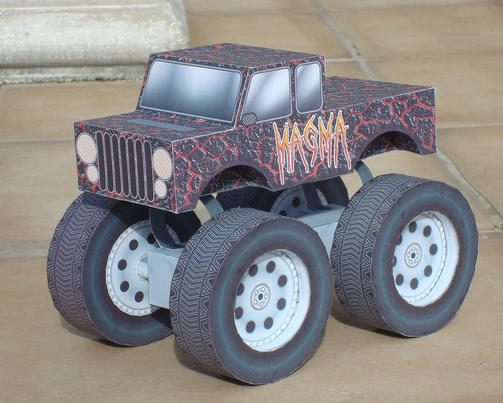 Monster Truck Magma Paper Toy
