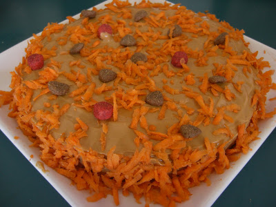 Picture of Rudy's peanut butter & carrot cake - it's iced with peanut butter, and has some kibble & shredded carrots for decoration
