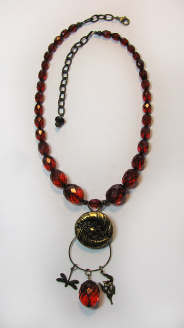 Beading Arts: Button and wire charm necklace