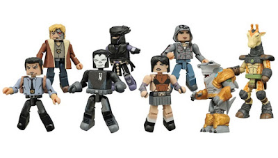 Indie Comic Book Heroes Minimates Series 1 by Diamond Select Toys - Hack/Slash's Cassie Hack with Revival's Em Cypress, CHEW's Tony Chu with John Colby, Valiant Comics' Ninjak with Shadowman & Battle Beasts' Ruminant the Giraffe with Spyrnus the Hammerhead Shark