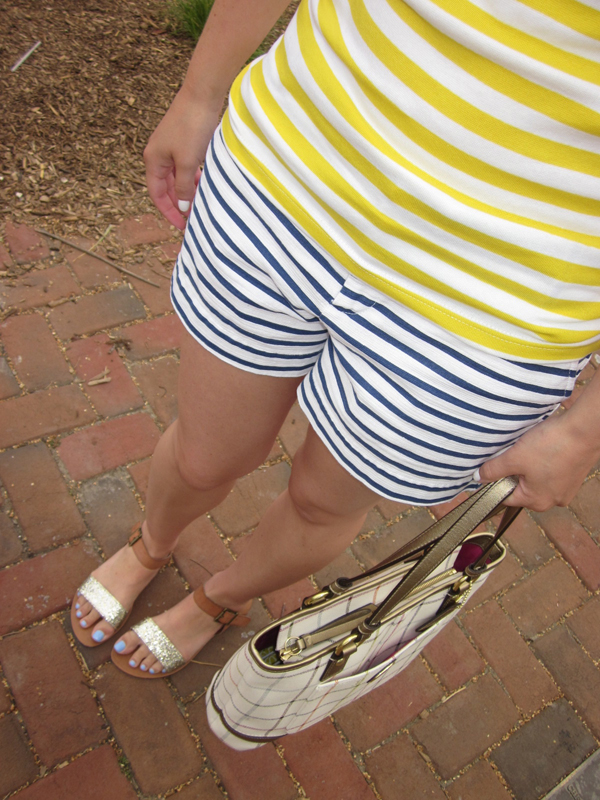 StripedShirt, striped shirt, yellow and white stripes, blue and white striped shorts, Gap shorts