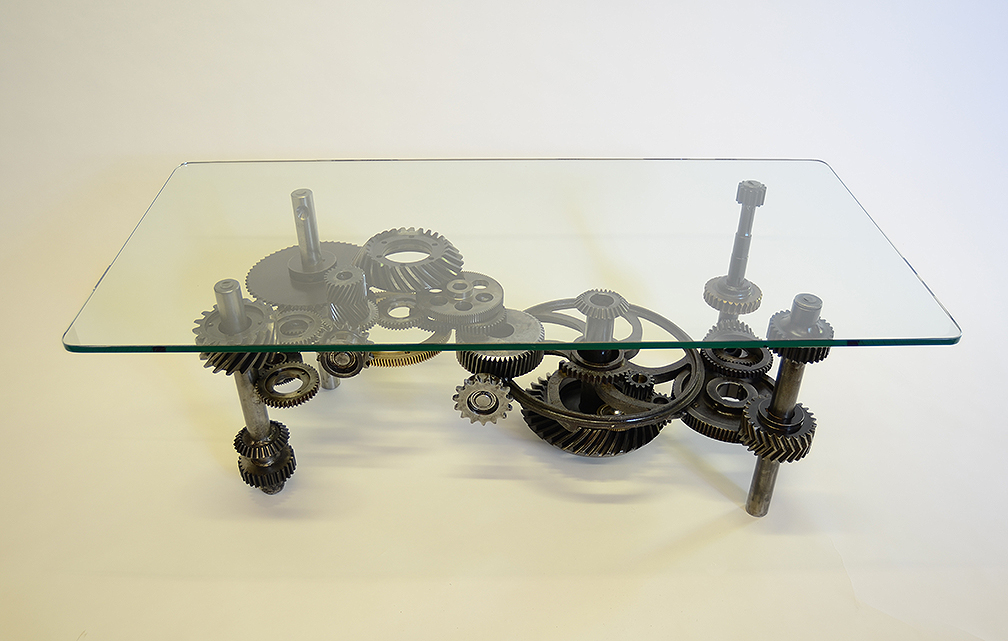 The Steel Whisperer Industrial Gears Coffee Table Completed - Welded coffee table